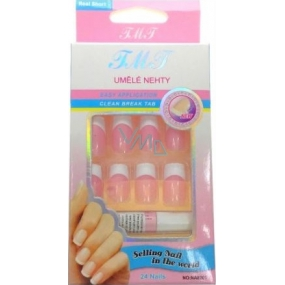 Nail Art artificial nails with glue french manicure pink 24 pieces 935
