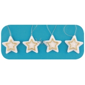 Stars for hanging, gold decor 5 cm, 4 pieces in a bag