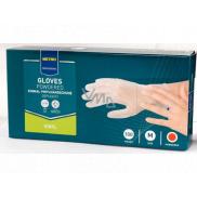 Metro Professional Disposable gloves, Vinyl powdered transparent, size M, box of 100 pieces