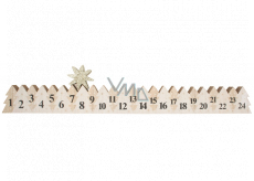 Advent calendar wooden white with gold star 78 x 395 mm