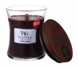 WoodWick Black Cherry - Black cherry scented candle with wooden wick and lid glass small 85 g
