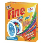 Well Done Fine Color Magnet Summer Breeze Wipes Color Absorbing with Fragrance, Suitable For Dryer 12 Pieces