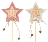 Wooden star, flakes 7 cm + skewers 1 piece