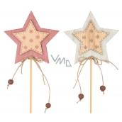 Wooden star, snowflakes 7 cm + skewers 1 piece