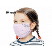 Veil 3 layers protective medical non-woven disposable, low respiratory resistance for children 10 pieces pink without print