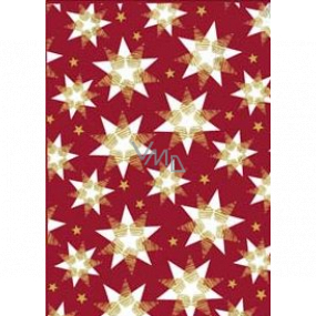 Ditipo Gift wrapping paper 70 x 200 cm Christmas burgundy white-gold stars