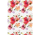 Ditipo Gift wrapping paper 70 x 100 cm White red flowers 2 sheets