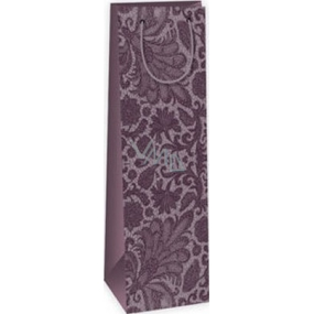 Ditipo Gift paper bag for bottle 12.3 x 7.8 x 36.2 cm purple lace pattern