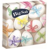 Big Soft Velikonoční papírové ubrousky vajíčka s barevnou stužkou 33 x 33 cm 2 vrstvé 20 kusů