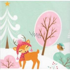 Nekupto Christmas Gift Card Pink Tree 6.5 x 6.5 cm 6 pieces