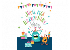 Albi Greeting card with effects for the envelope Birthday Monster 14.8 x 21 cm