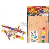Dřevěné puzzle dopravní prostředky Dvouplošník 20 x 15 cm