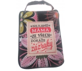 Albi Foldable bag with zipper in a handbag with the inscription Mom 42 x 41 x 11 cm