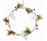 White wreath with needles and stars 18 cm