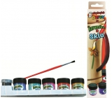 Amos Paints for glass and ceramics in a box of 5 colors x 1 2ml + contour 5ml + brush