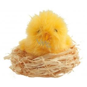 Plush chicken in natural nest 7 cm