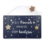 Nekupto Christmas wooden decoration sign Let the Christmas holidays fill all ... 20 x 12 cm