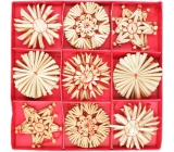 Straw decorations in box approx. 6 cm, 32 pieces