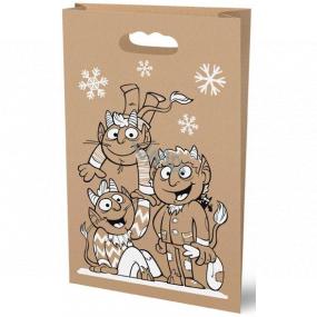 Santa's paper bag, natural brown Devils 26 x 41 cm