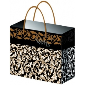 Gift bag All year round with gold embossing black E 23 x 18 x 10 cm