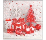 Aha Christmas paper napkins 3 ply 33 x 33 cm 20 pieces white, red tree, red baubles