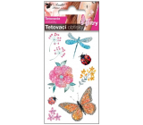 Colorful children's tattoo decals with glitter With a dragonfly 10.5 x 6 cm