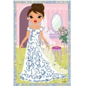 Scraping picture Dolls long dress and flower 21.5 x 11 cm
