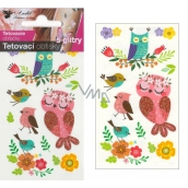 Colorful children's tattoo decals with glitter Owls 10.5 x 6 cm