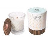 WoodWick Gray Tea & Musk - Gray tea and musk scented candle with wooden wide wick and glass middle Aura 275 g in gift box