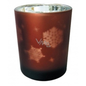 Glass candle glass brown 7 cm snowflake 3530 1640