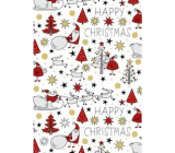 Ditipo Gift wrapping paper 70 x 200 cm Christmas white Santa reindeer trees