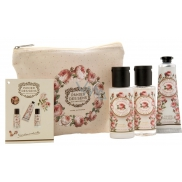 Panier des Sens Rose shower gel 50 ml + body lotion 50 ml + hand cream 30 ml + bag, travel cosmetic set