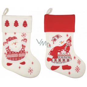 Felt St. Nicholas white stocking 40 cm 1 piece
