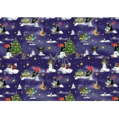 Nekupto Wrapping paper for children Mole dark blue 70 x 200 cm 1 roll