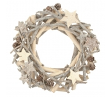 White-gray wooden wreath made of twigs 22 cm