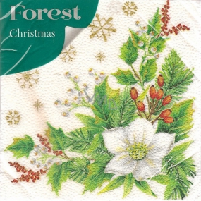 Forest Paper napkins 1 ply 33 x 33 cm 20 pieces Christmas White flower