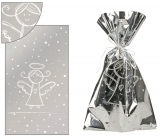 Angel Silver bag with white angel 20 x 35 cm