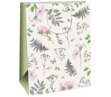 Ditipo Gift kraft bag 27 x 12 x 37 cm white, pink and gray flowers