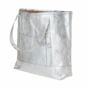 Albi Eco handbag made of washable lamination paper - silver 30 cm x 38 cm x 10.5 cm