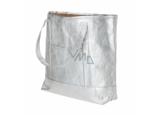 Albi Eco handbag made of washable laminated paper - silver 30 cm x 38 cm x 10.5 cm