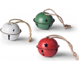 Jingle bells mix colors red, green, white 40 mm 6 pieces