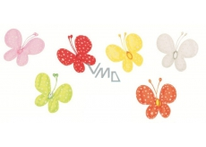 Butterflies with cloth clip with glitter polka dots 4 cm 6 colors in a bag of 6 pieces