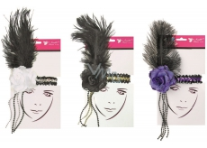 Ball headband with feather flower 1 piece