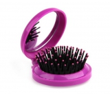 Donegal Folding hair brush with POP-UP mirror, 6.5 cm x 7.5 cm