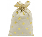 Cloth bag with gold stars 20 x 32 cm