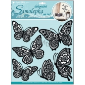 Room Decor Wall stickers plastic 3D butterflies with moving lace black wings 39 x 30 cm 1 arch