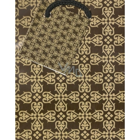 Nekupto Gift paper bag 14 x 11 x 6.5 cm Brown pattern 1 piece 581 01