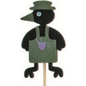 Crow in apron green groove 7 cm + skewers 15 cm