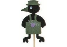 Crow in apron green recess 7 cm + skewers 15 cm