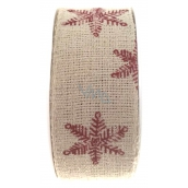 Ditipo Nordic ribbon beige red snowflakes 2 mx 25 mm